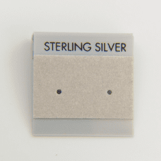 "1 inch Grey Flocked Earring Cards ""Sterling Silver"" 1pc"