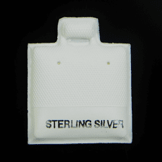 "1 inch ""Sterling Silver"" White Puff Ear Cards 1pc"