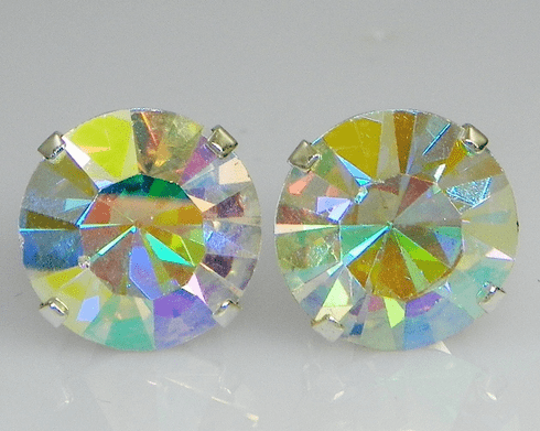10mm Crystal AB Sterling Silver Earrings using Swarovski Elements