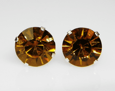 10mm Crystal Amber Yellow Sterling Silver Earrings using Swarovski Elements