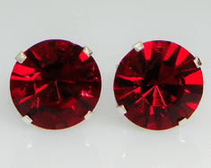 10mm Crystal  Siam Red Sterling Silver Earrings using Swarovski Elements