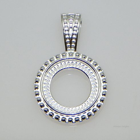 10mm Round Silver Plated Rope Style Cabochon (Cab) Pendant Setting