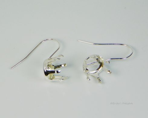 10mm Round Sterling Silver Snap Tite EARWIRE Earring Settings (6 Prong)