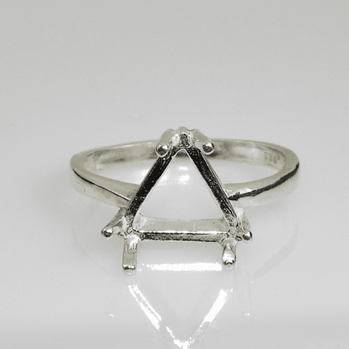 10mm Trillion Pre-Notched Sterling Silver Ring Setting (6 Prong)