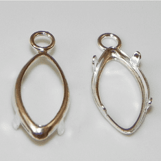 10x5 marquise sterling silver low wall backset drop 1pc