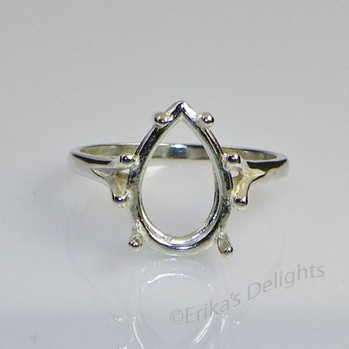 10x7 Pear Solitaire Sterling Silver Ring Setting