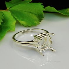 10x8 Emerald Cathedral Shank Solitaire Sterling Silver Ring Setting