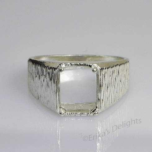 10x8 Men's Emerald Textured Sterling Silver Ring Setting