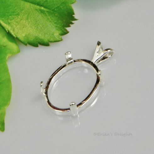 10x8 Oval Cab (Cabochon) Sterling Silver Pendant Setting