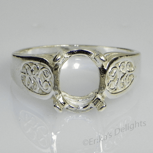 10x8 Oval Cab Filigree Shank Sterling Silver Ring Setting