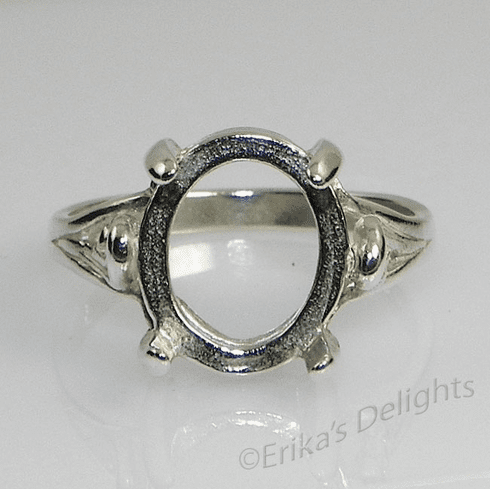 10x8 Oval Cabochon Tri Swirl Sterling Silver Ring Setting