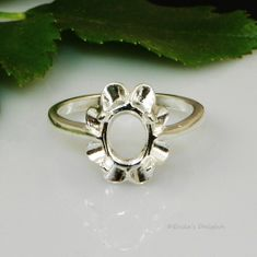 10x8 Oval Crown Style Sterling Silver Pre-Notched Ring Setting