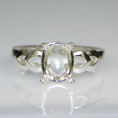 10x8 Oval Double Vee Shank Sterling Silver Ring Setting