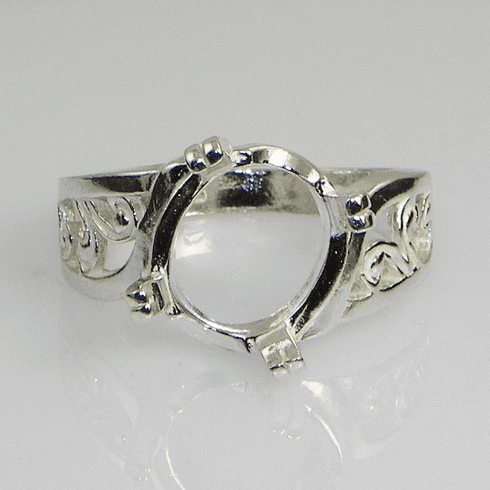 10x8 Oval Fancy Offset Sterling Silver Ring Setting