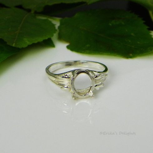 10x8 Oval Leaf Sterling Silver Pre-Notched Ring Setting
