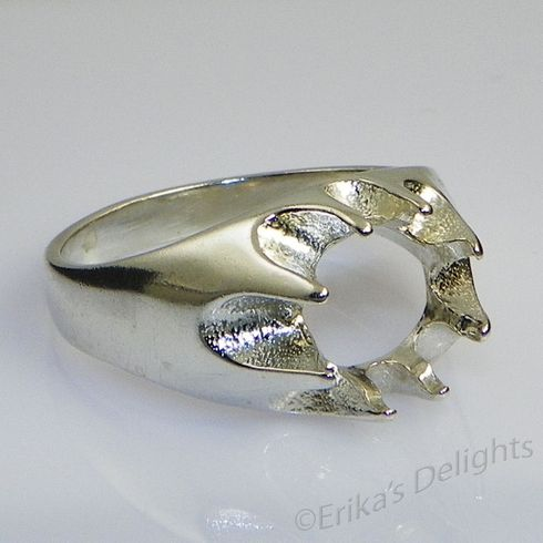 10x8 Oval Men's Gypsy Sterling Silver Ring Setting