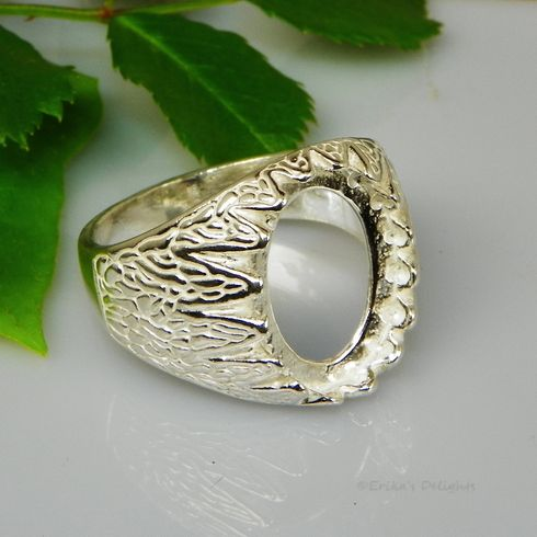 10x8 Oval Mens Donello Cabochon (Cab) Sterling Silver Ring Setting