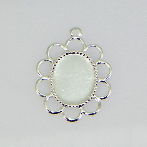 10x8 Oval Silver Plated Filigree Design Cabochon (Cab) Drop Setting