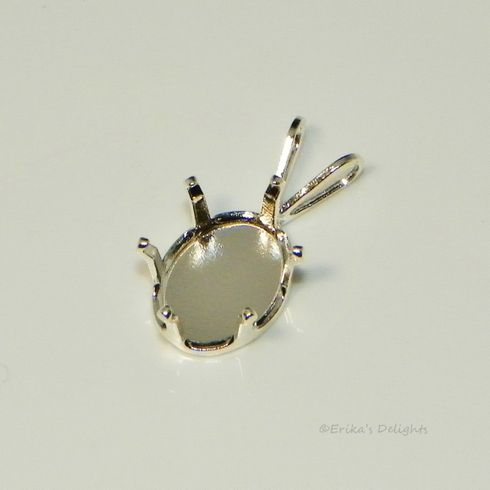 10x8 oval snap tite sterling silver pendant setting 6prong