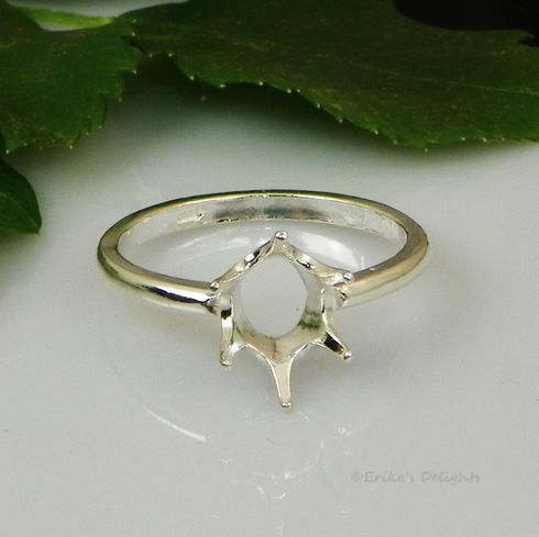 10x8 Oval Solitaire Sterling Silver Ring Setting