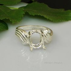 10x8 Oval Swirl Bypass Sterling Silver Pre-Notched Ring Setting