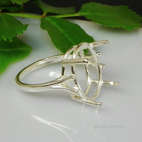 10x8 Oval Wire Basket Sterling Silver Ring Setting