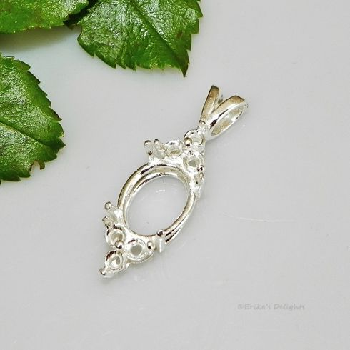 10x8 Oval with 6 Accents Sterling Silver Pendant Setting