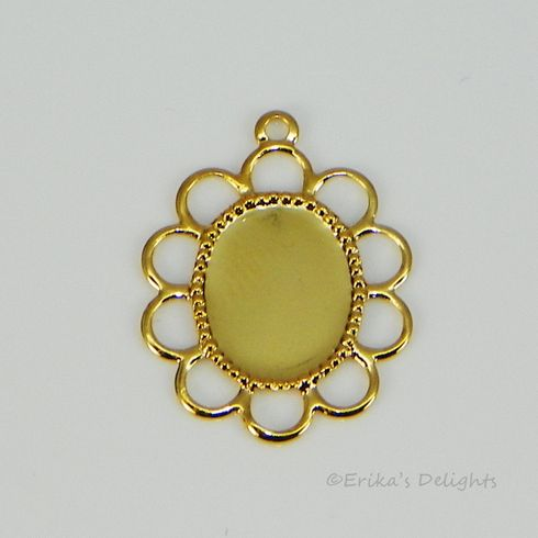 10x8mm Oval Gold Plated Filigree Design Cabochon (Cab) Drop Setting