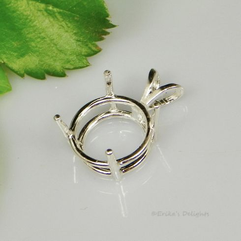 11mm Round Pre-notched Sterling Silver Pendant Setting (4 prong)