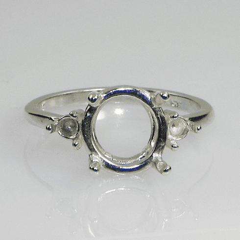 11mm Round Side Accented (3mm) Sterling Silver Ring Setting