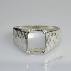 11x9 Men's Emerald Textured Sterling Silver Ring Setting