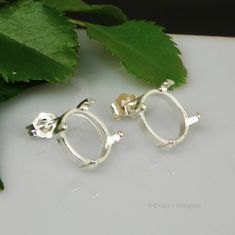 11x9 Oval Cabochon (Cab) Sterling Silver Earring Settings