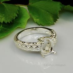 11x9 Oval Engraved Shank Sterling Silver Ring Setting