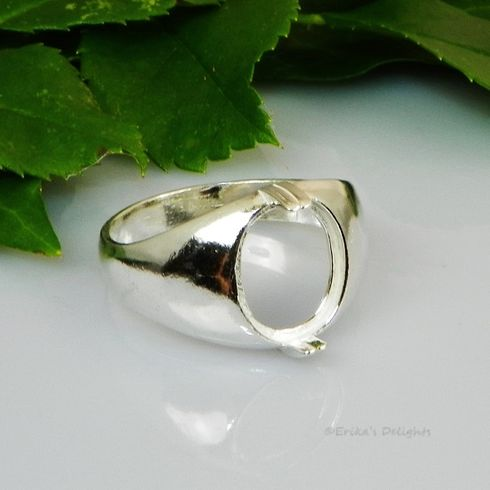 11x9 Oval Mens Cabochon Sterling Silver Ring Setting