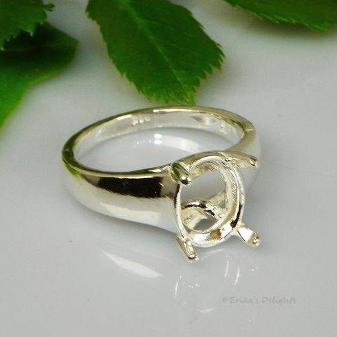 11x9 Oval Pre-Notched Comfort Fit Sterling Silver Ring Setting