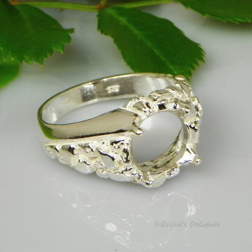 12mm Round Men's Nugget Swirl Sterling Silver Ring Setting