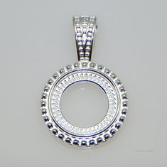12mm Round Silver Plated Rope Style Cabochon (Cab) Pendant Setting