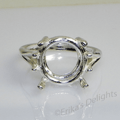 12mm Round Wire Mount Sterling Silver Ring Setting