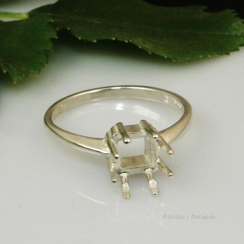 12mm Square 8 Prong Pre-notched Sterling Silver Ring Setting