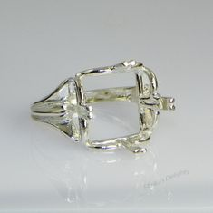 12mm Square Regalle Pre-notched Sterling Silver Ring Setting