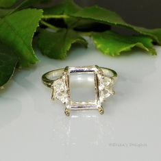 12x10 Emerald with 4 (3mm) Accents Sterling Silver Ring Setting