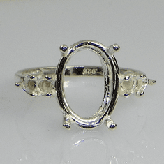 12x10 Oval Double Side Accent Sterling Silver Ring Setting