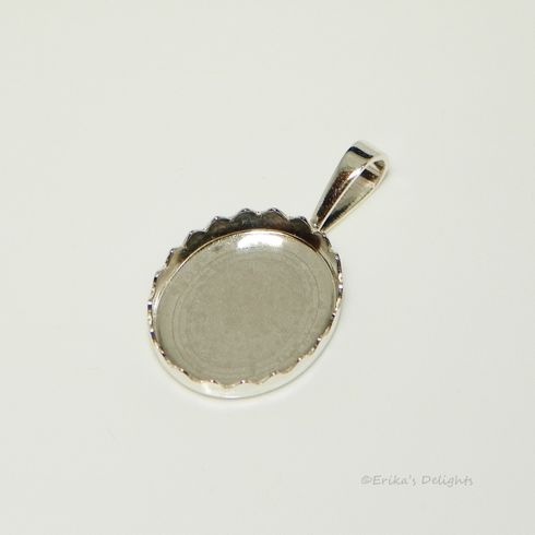 12x10 Oval Fancy Cabochon (Cab) Sterling Silver Pendant Setting