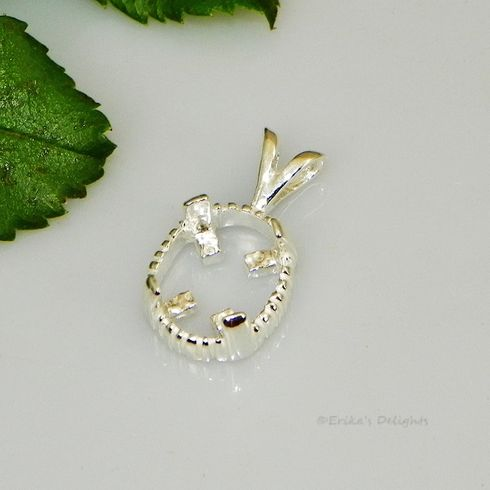 12x10 Oval Triplet Cab (Cabochon) Sterling Silver Pendant Setting
