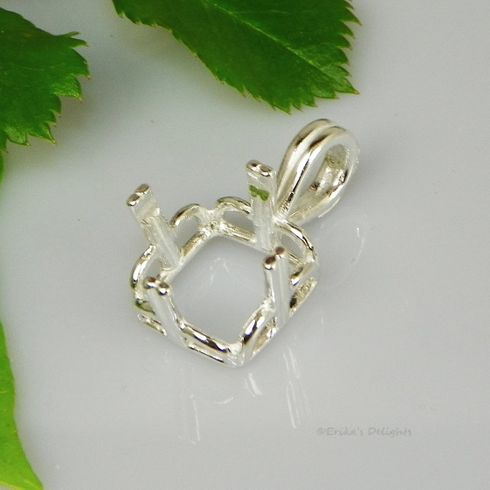 13mm Square Regalle Pre-Notched Sterling Silver Pendant Setting