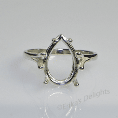 13x9 Pear Solitaire Sterling Silver Ring Setting