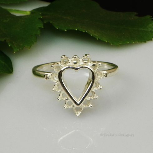 14 Stone 2mm Round Cluster Heart Pre-Notched Sterling Silver Ring Setting