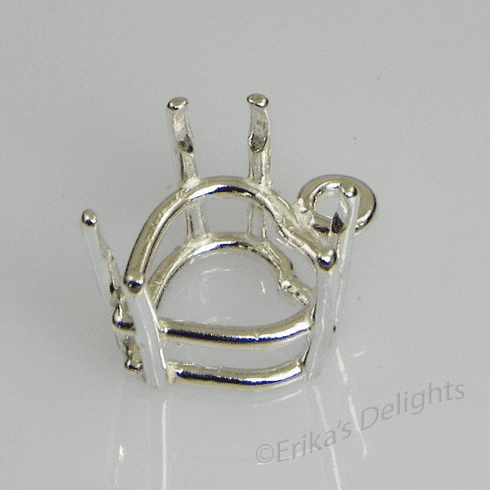 14mm Heart Pre-notched Dangle Drop Sterling Silver Setting