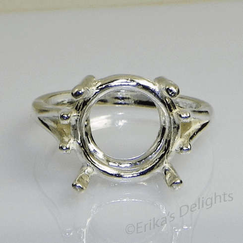 14mm Round Wire Mount Sterling Silver Ring Setting