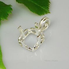 14mm Square Regalle Pre-Notched Sterling Silver Pendant Setting